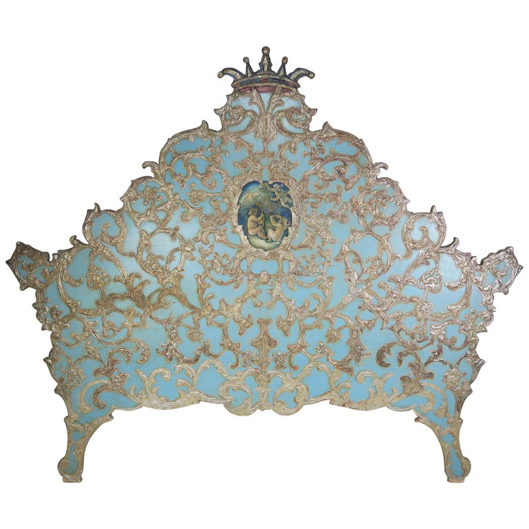 Italian Painted & Parcel Gilt Headboard w: Putti's C. 1930's