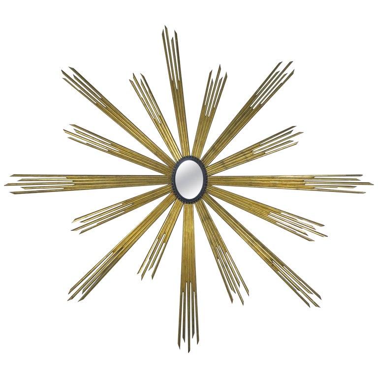 Monumental Italian Giltwood Sunburst Mirror