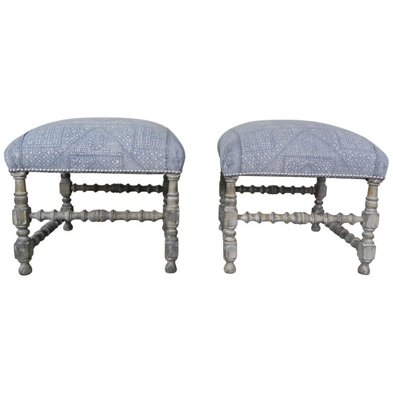 Painted Swedish Benches with Batik Cotton Upholstery, circa 1930s