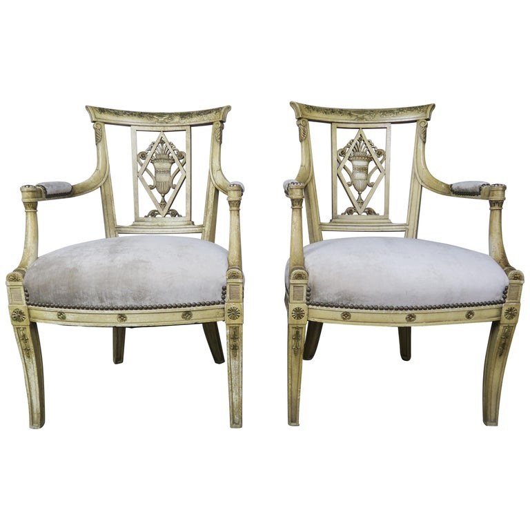 Pair of 1930s Italian Neoclassical Painted Armchairs w: Urns $3,800