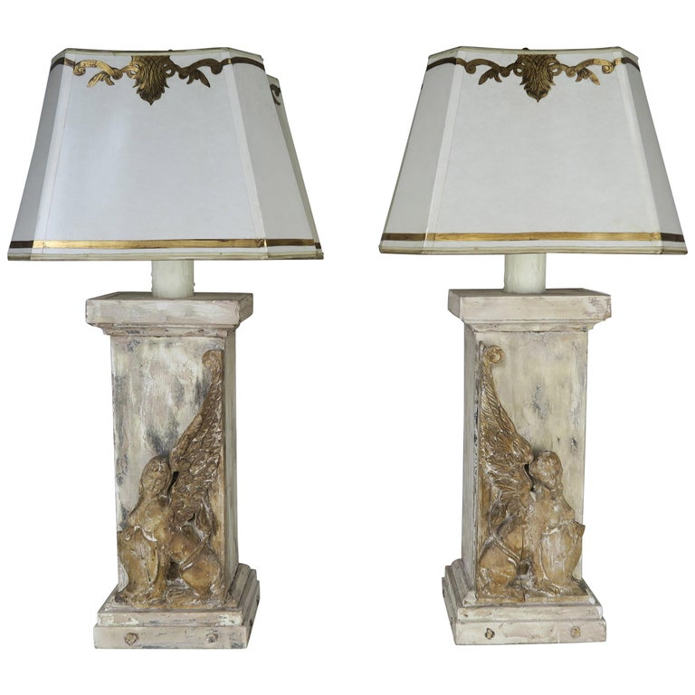 Pair of 19th Century Italian Carved Sphinx Lamps w: Parchment Shad