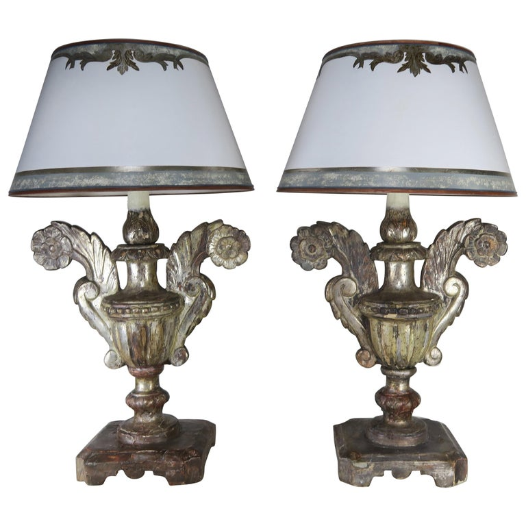 Pair of Antique Silvered Urn Lamps with Parchment Shades $5,800