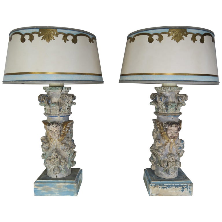 Pair of Custom Painted Carved Cherub Lamps w: Painted Parchment Shades $4,800