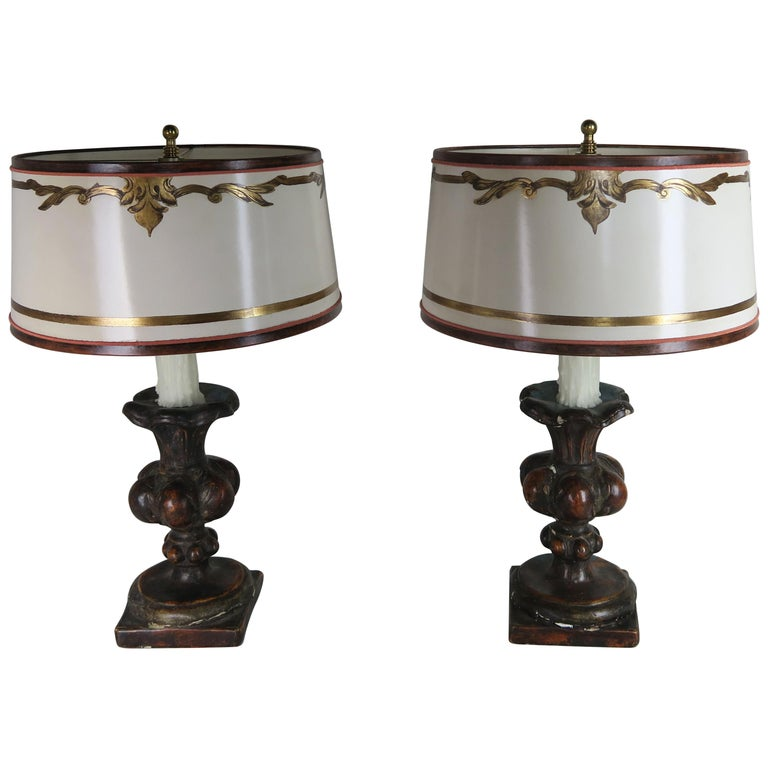 Pair of Italian Polychrome Lamps with Parchment Shades