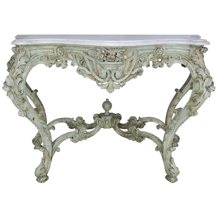 19th Century French Rococo Style Painted Console with Carrara Marble Top $4,800