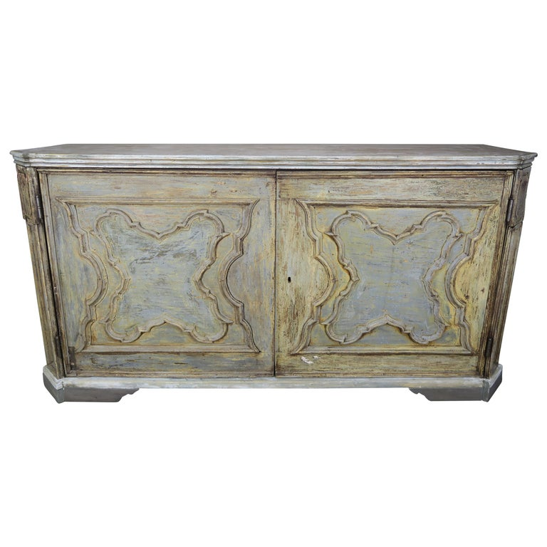 19th Century Swedish Painted Cabinet with Carved Doors $8,500