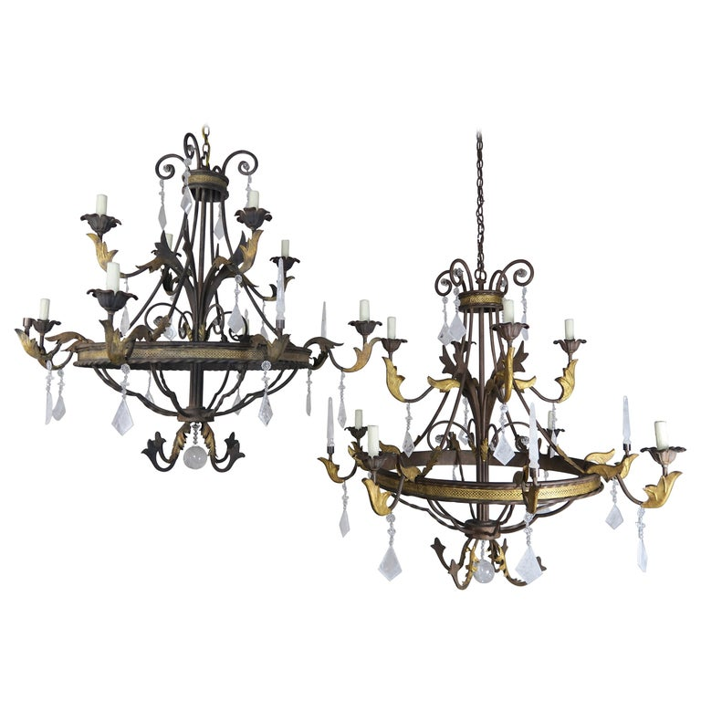 8-Light Spanish Baroque Style Rock Crystal Chandeliers,