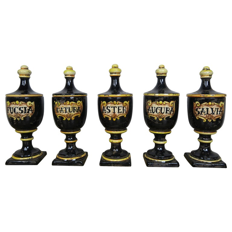 Black Ceramic Italian Pharmacy Jars-Set of Five