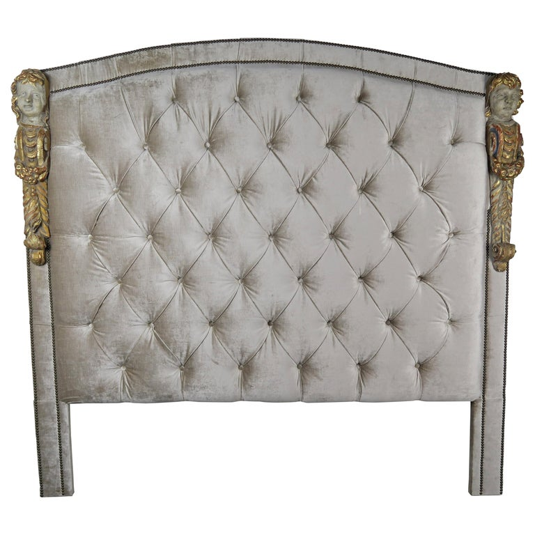 Carved Polychrome Cherub Velvet Tufted Headboard-King Size $7,500