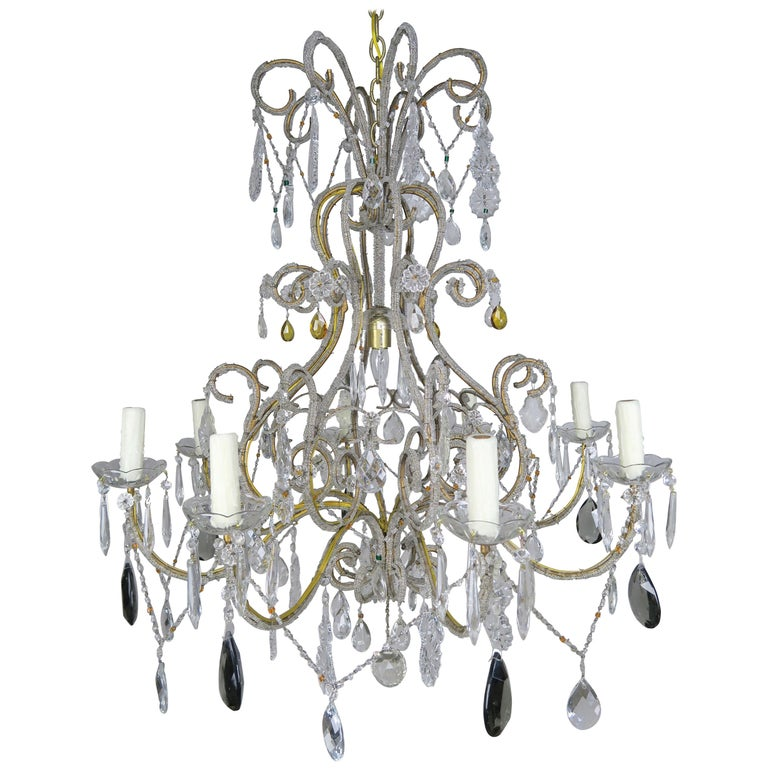Eight Light Italian Crystal Beaded Chandelier with Smokey Drops $4,800