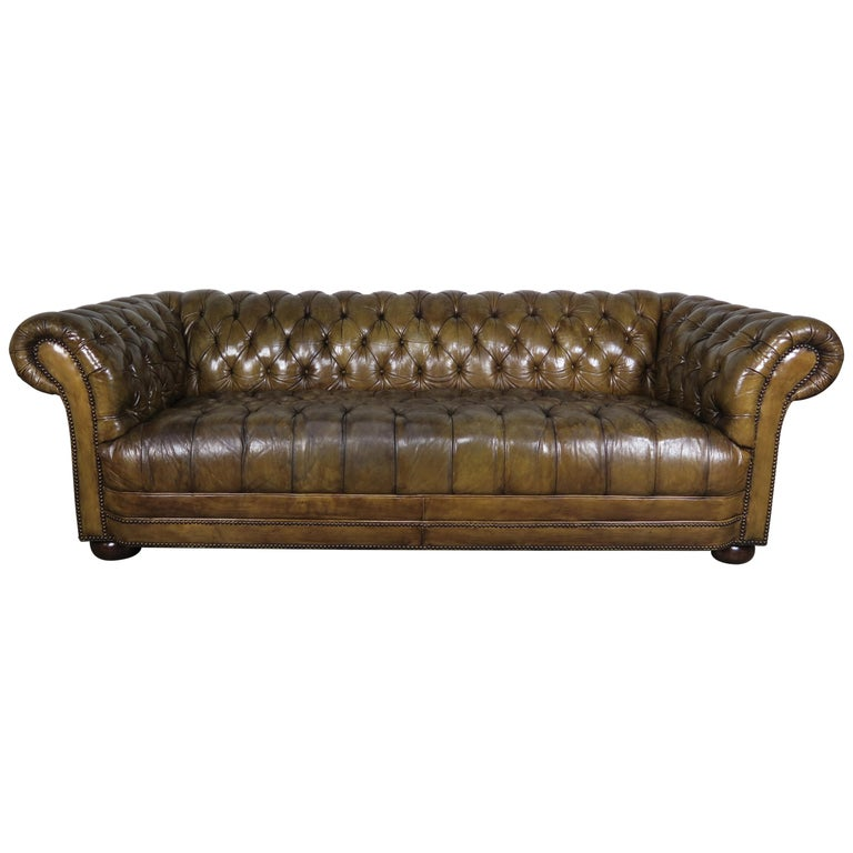 English Leather Tufted Chesterfield Sofa,