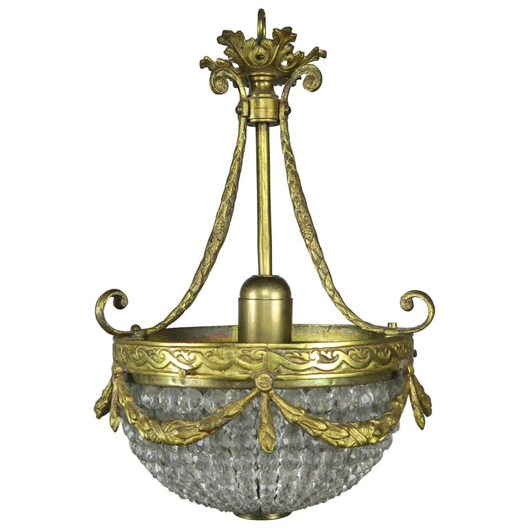 French Bronze & Beaded Ceiling Fixture C. 1930's $1,250