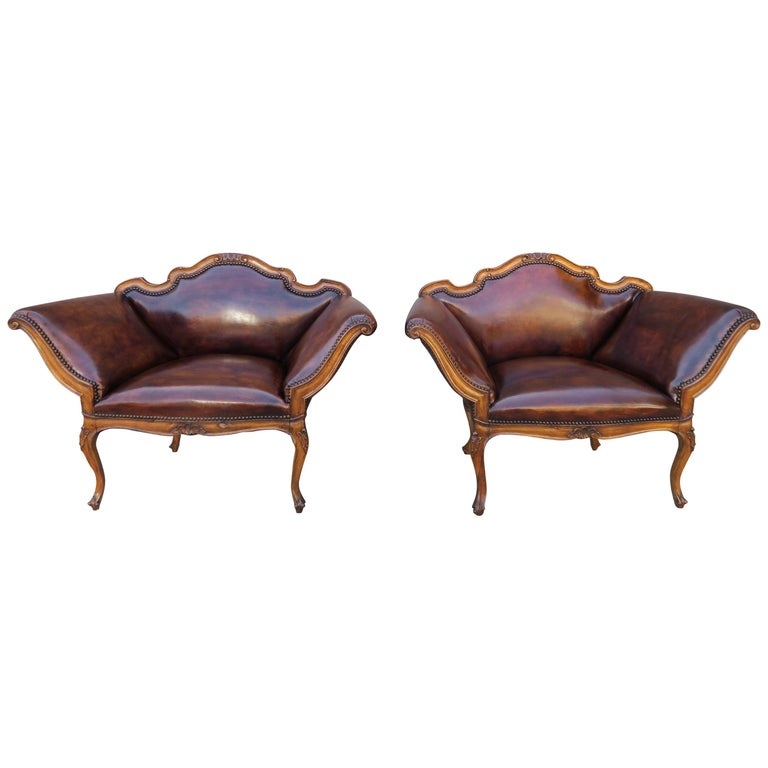 French Walnut Carved Leather Armchairs, Pair $7,500