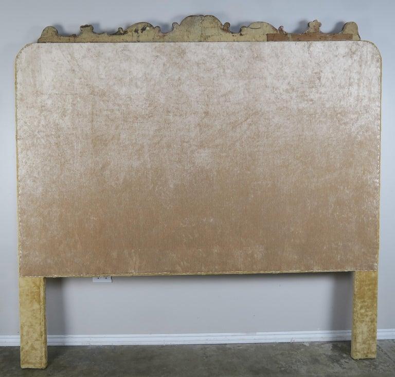 Velvet Tufted King Size Headboard With Antique Italian