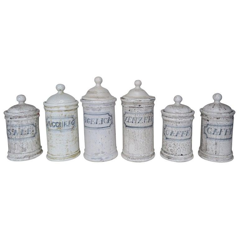Italian Glazed Ceramic Lidded Canisters, Set of 6 $1,800