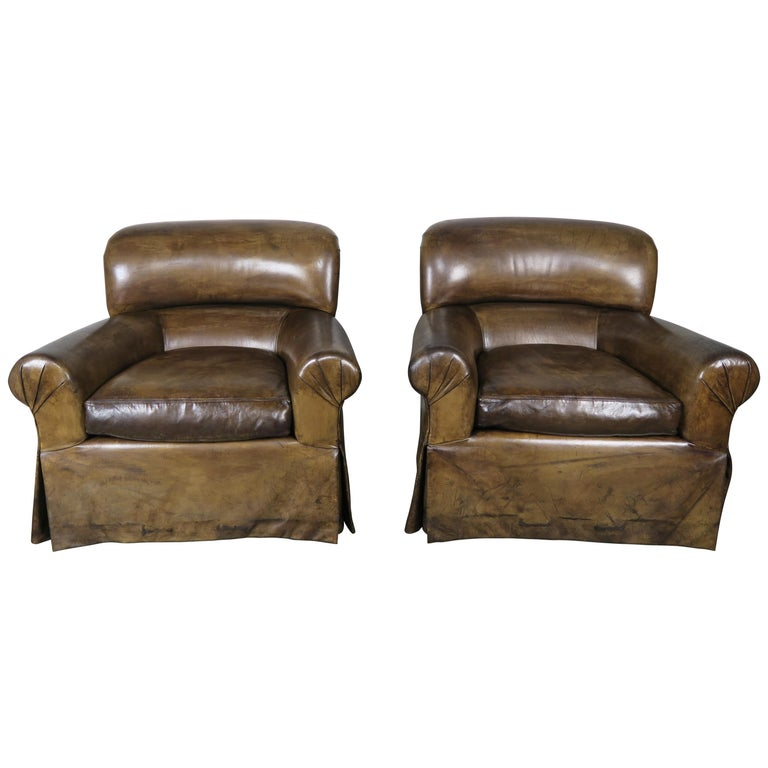Leather Skirted Club Swivel Armchairs, Pair $4,500
