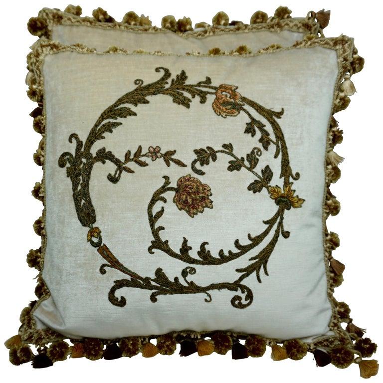 Pair of Custom Cream Velvet Applique' Pillows by Melissa Levinson $2,400