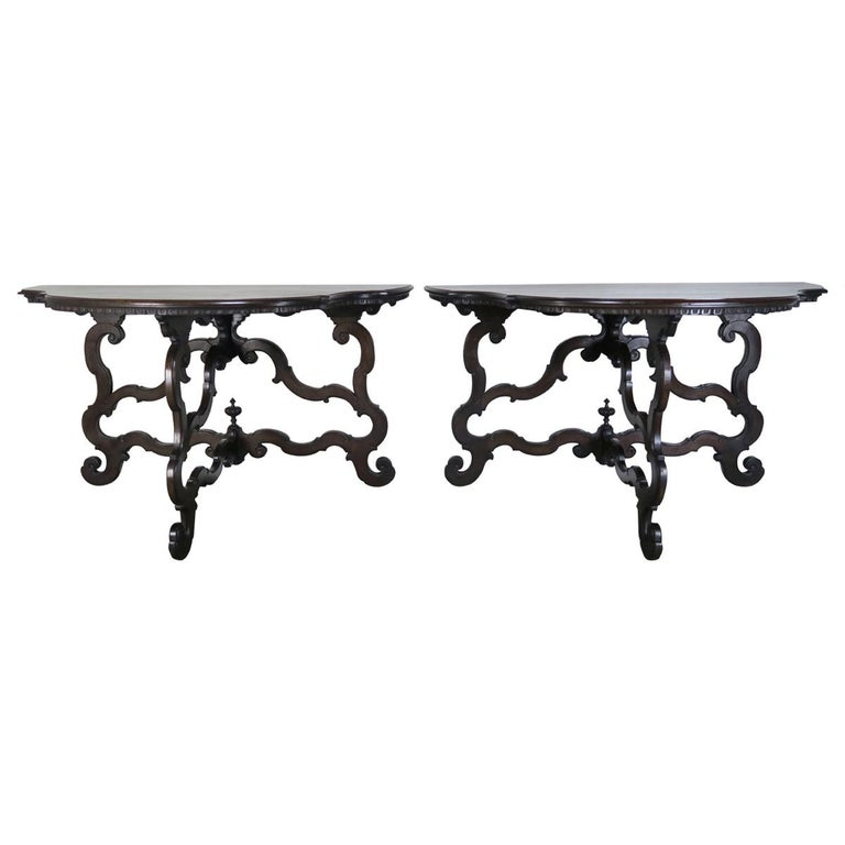 Pair of Spanish 19th Century Carved Serpentine Shaped Consoles $7,500