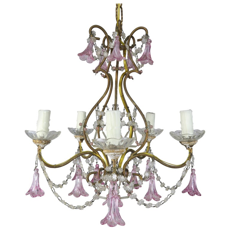 Pink Glass Four Light Italian Chandelier with Pink Flower Drops