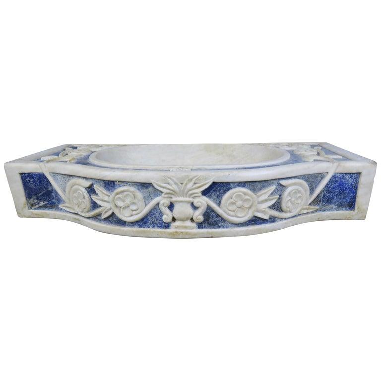 Rare Italian Blue and White Carrera Marble Sink $5,800