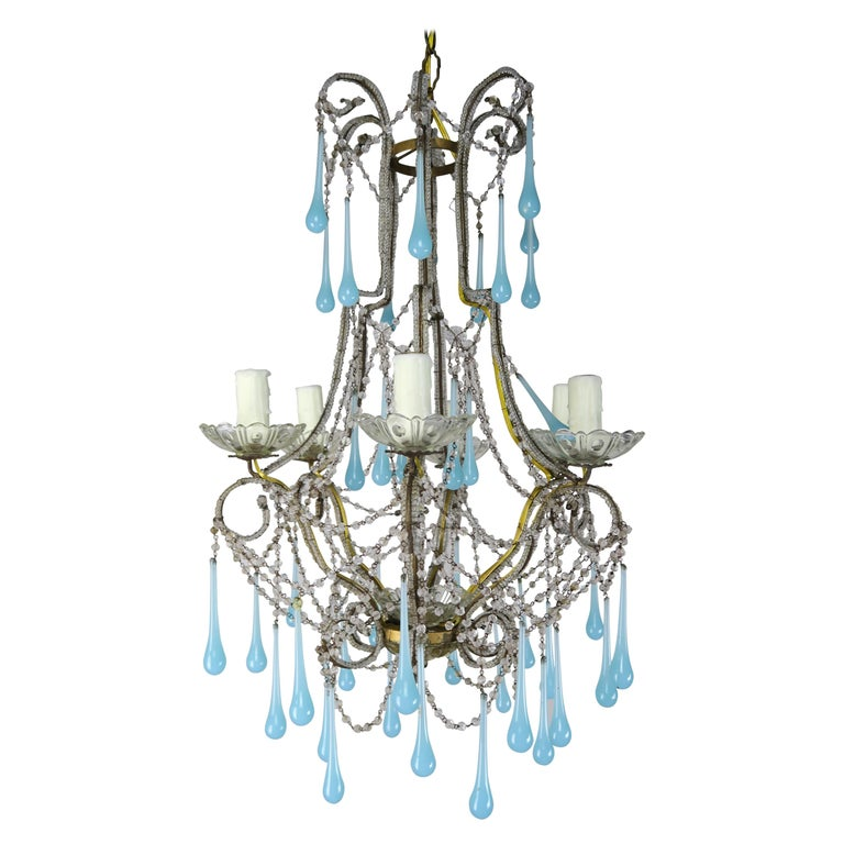 Six Light Crystal Beaded Chandelier with Aqua Drops, circa 1930s $2,400