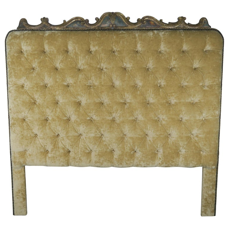 Velvet Tufted King Size Headboard with Antique Italian Painted Carving $6,800