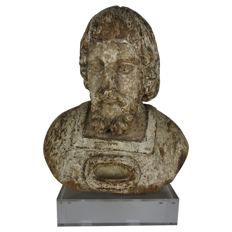 19th Century Carved Wood Italian Bust on Lucite Base $1,850