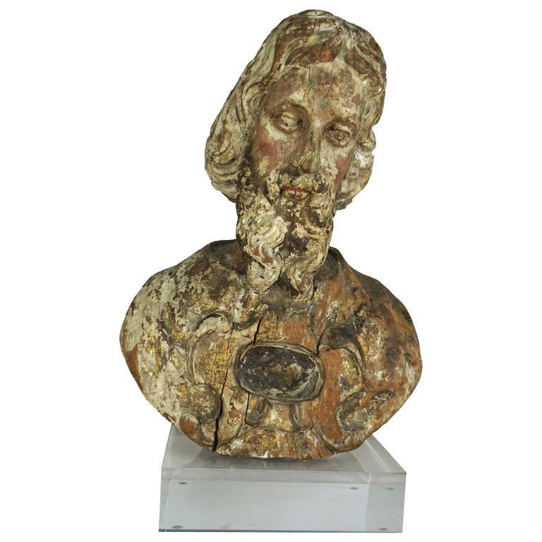 19th Century Italian Carved Bust Mounted on Lucite Base $1,850
