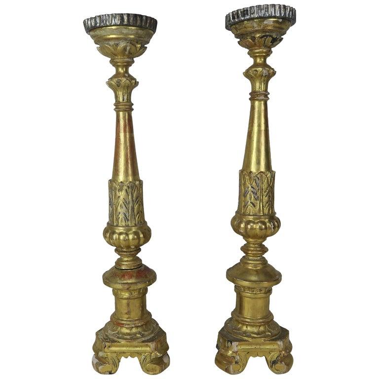 19th Century Italian Giltwood Candlesticks $950