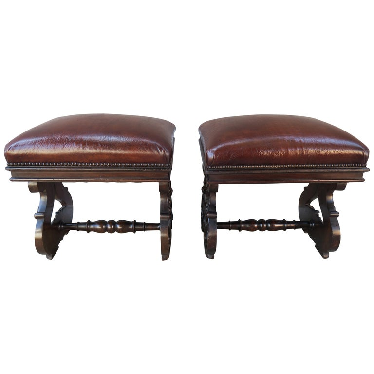 19th Century Pair of Italian Walnut Embossed Leather Benches $2,800