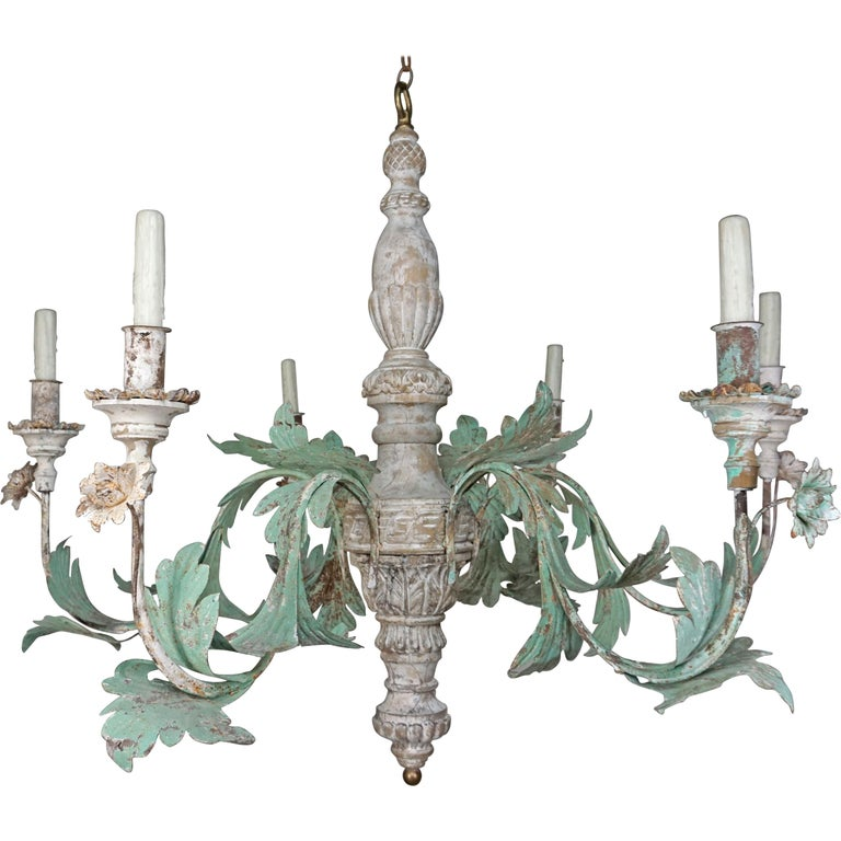 Monumental Vintage Wood Painted and Metal 6-light Chandelier $4,800