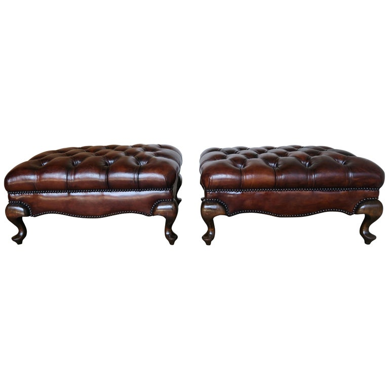 Pair of English Queen Anne Style Leather Tufted Benches $3,800