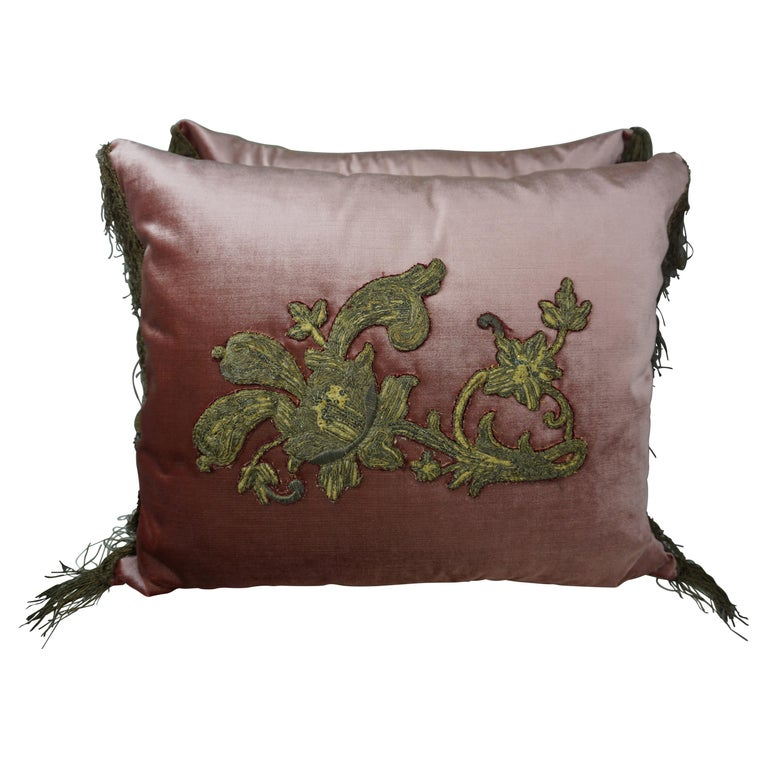 Pair of Pink Velvet Pillows with 18th Century Metallic Appliques $2,800