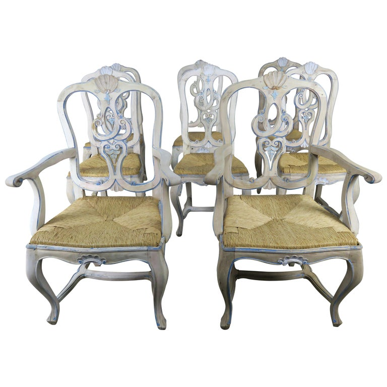 Set of Eight French Country Painted Dining Chairs with Rust Seats $7,500