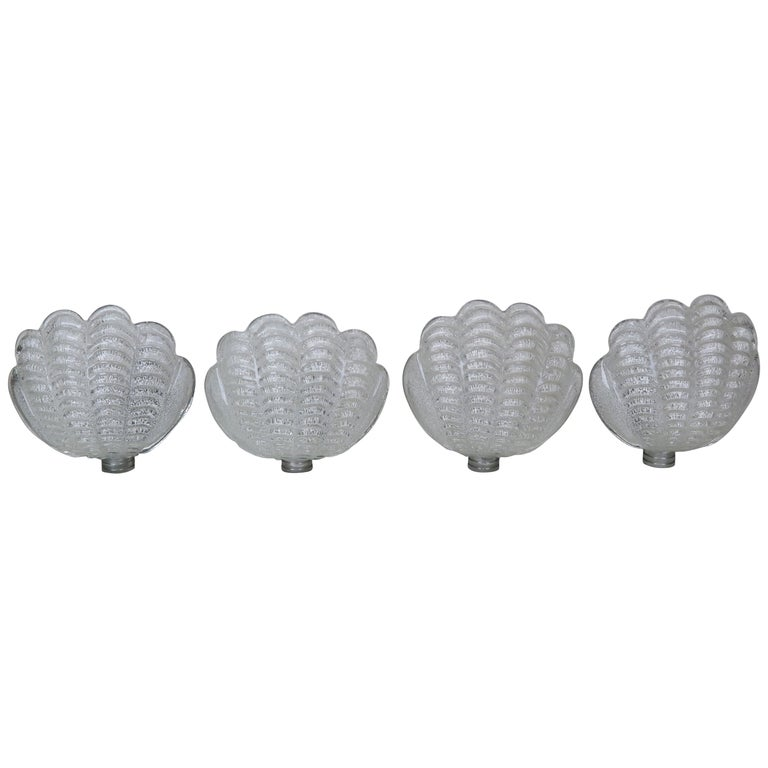 Shell Shaped Murano Glass Sconces by Mazzega, Set of 4 $2,800