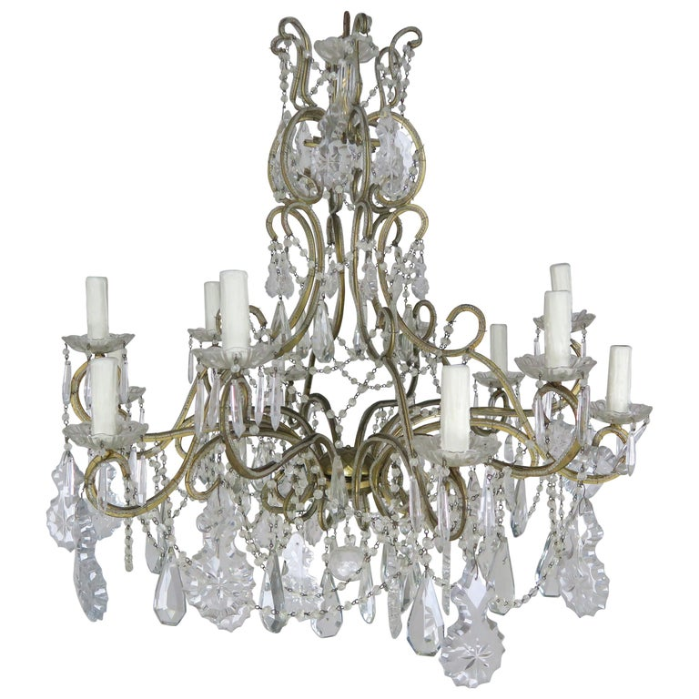10 Light French Louis Xv Style Crystal Beaded Chandelier Circa 1930s Melissa Levinson Antiques