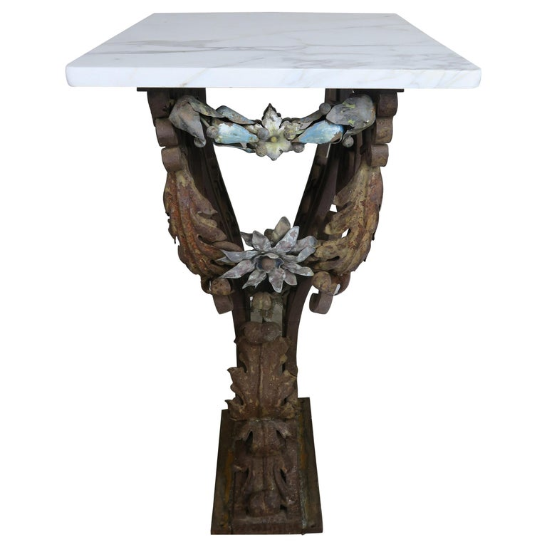 19th C. Italian Painted Wrought Iron Table w: Carrara Marble Top $2,400