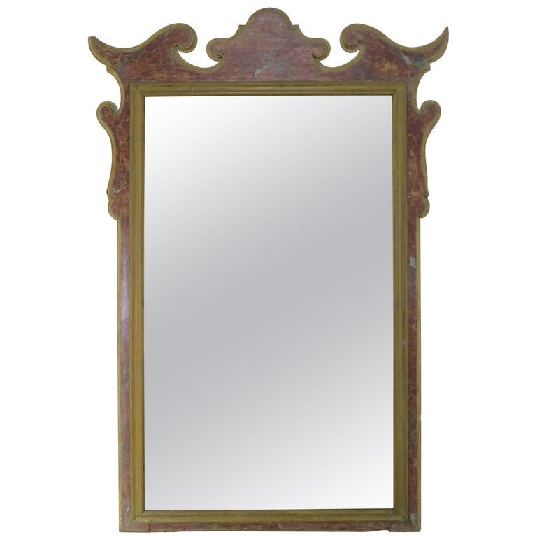 19th Century Italian Faux Marble Painted Mirror $3,800