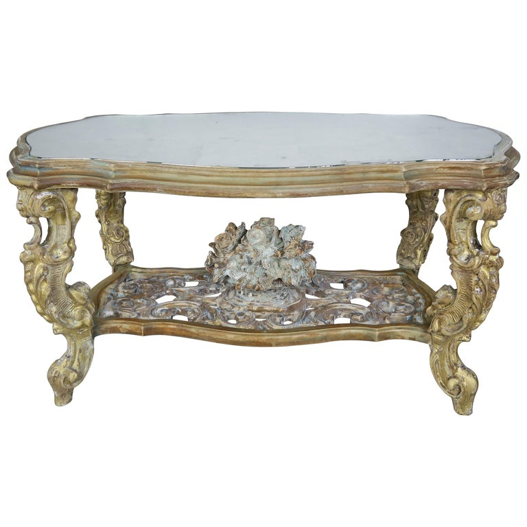 Carved French Rococo Style Tea Table with Silvered Mirror Top, circa 1930s $3,500