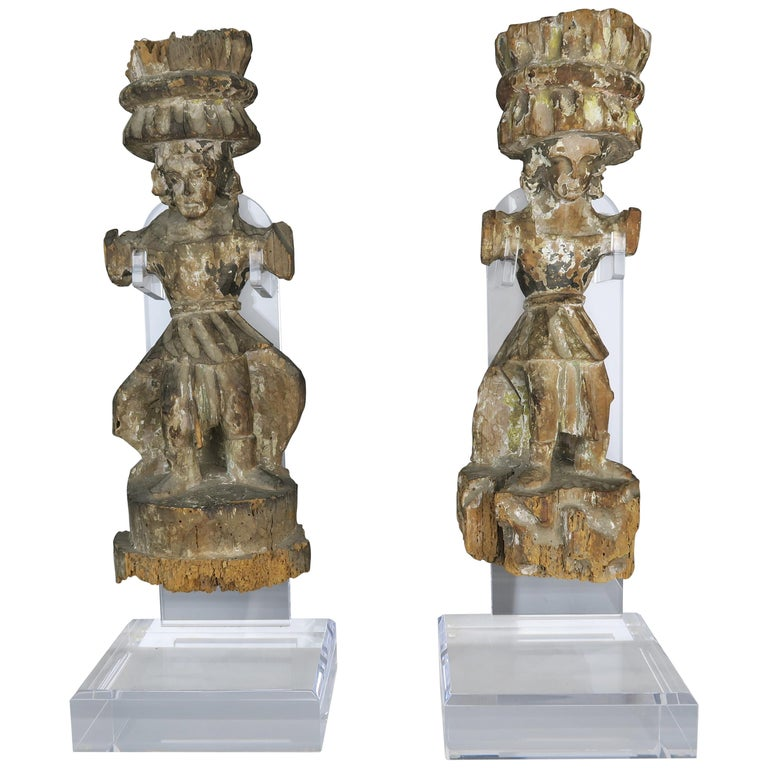 Carved Italian Gilt Wood Figures on Lucite Stands $1,800