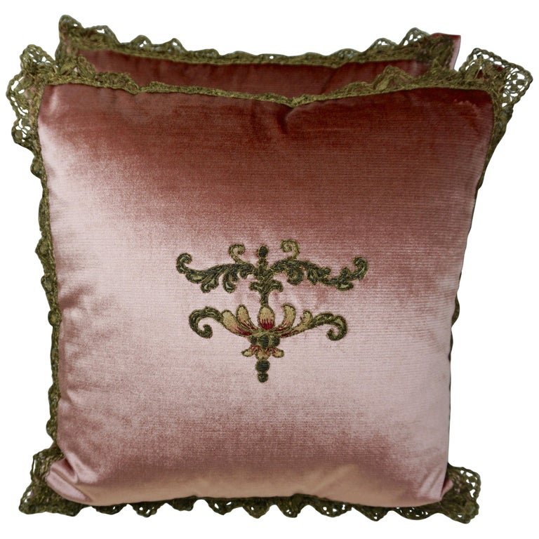 Custom Pink Velvet Appliqued Pillows by Melissa Levinson $1,250