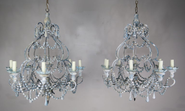 Eight-Light Wood Beaded Blue and Cream Painted Chandeliers, Pair $4,800