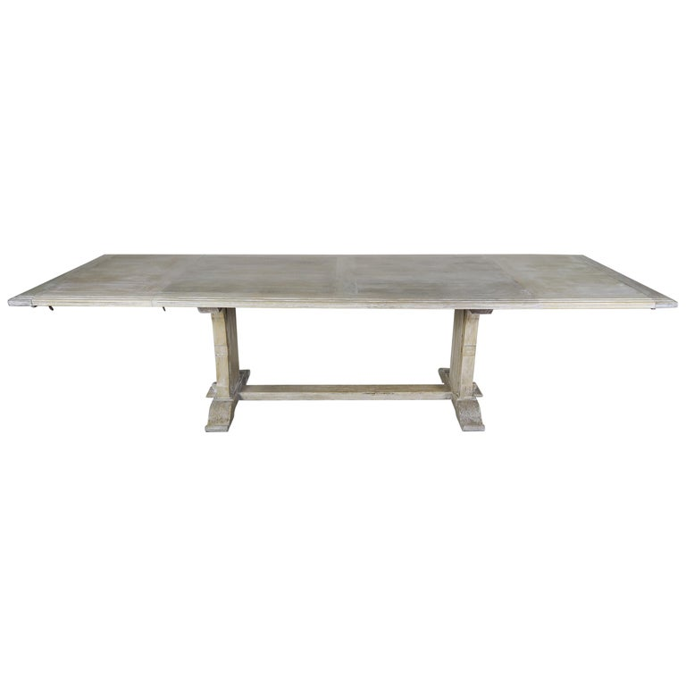 French Painted Pedestal Dining Table with Leaves, circa 1900 $9,500