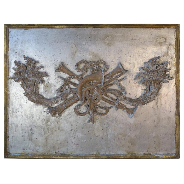 French Silver and Gold Pair of Carved Cornucopia Panel, circa 1930s $5,800