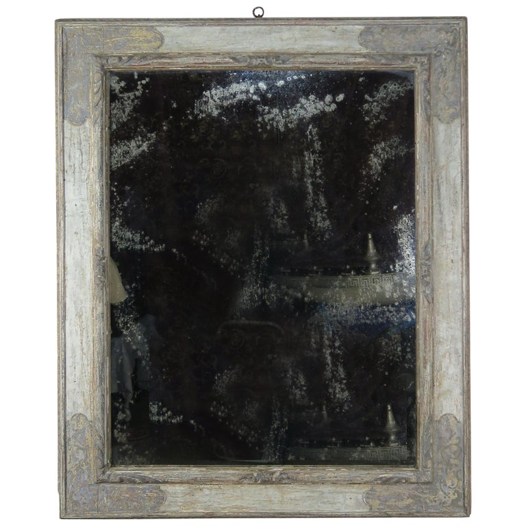 Italian Hand Painted Frame with Lightly Distressed Mirror Inset $3,800