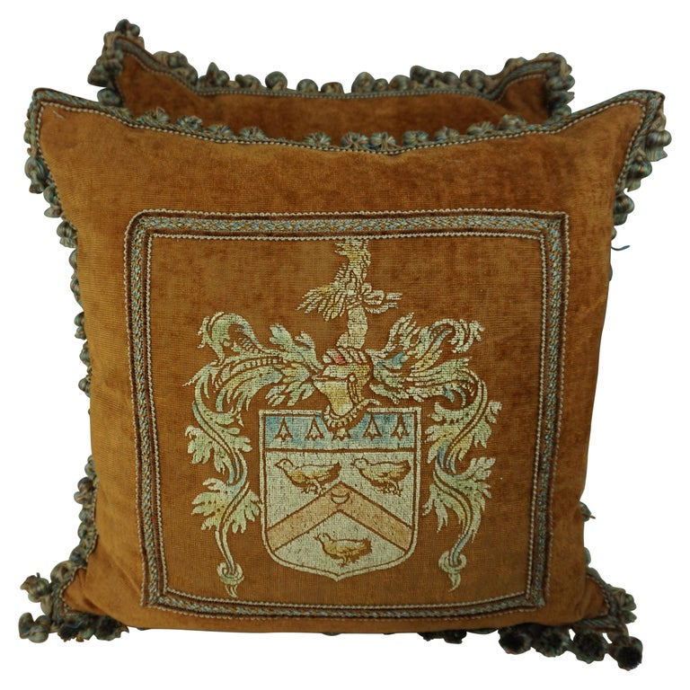 Pair of Custom Hand Painted Velvet Pillows with Crest by Melissa Levinson $1,800