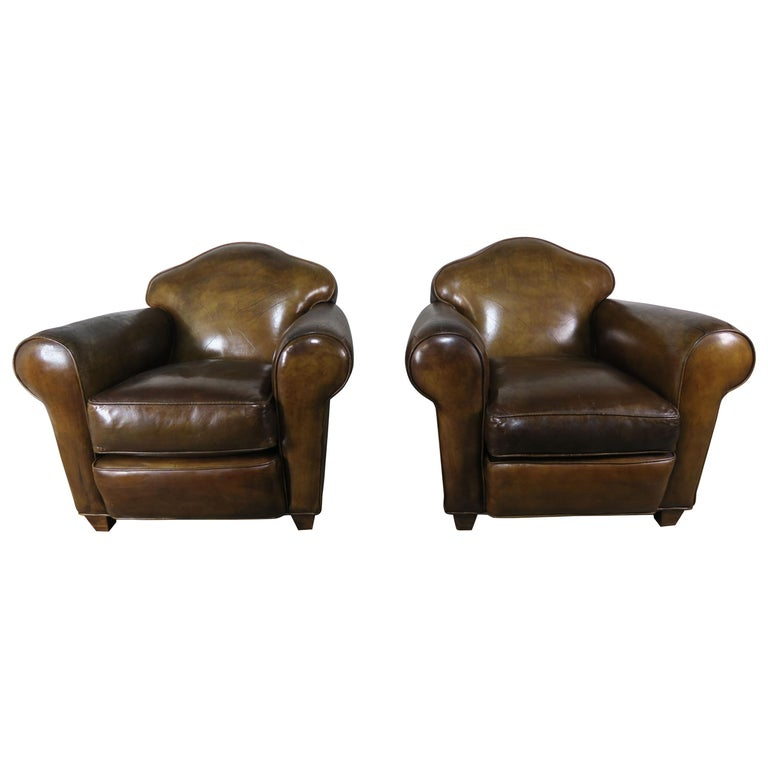 Pair of French Leather Upholstered Club Chairs, circa 1940s $7,500