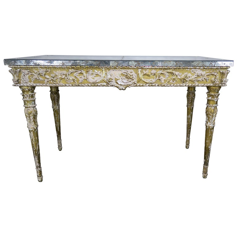 19th Century Italian Neoclassical Style Giltwood Console with Mirrored Top $7,500