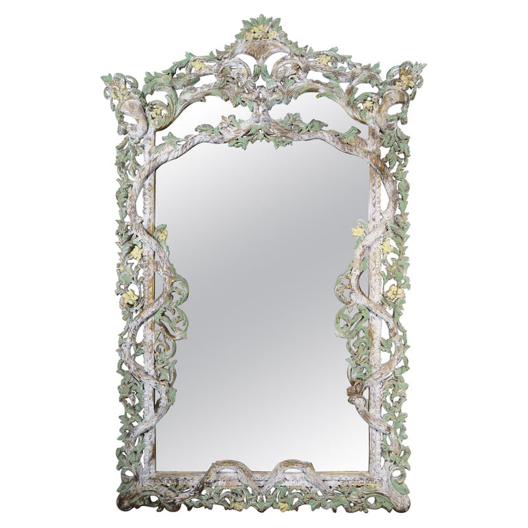 Carved Italian Rococo Style Painted Mirror