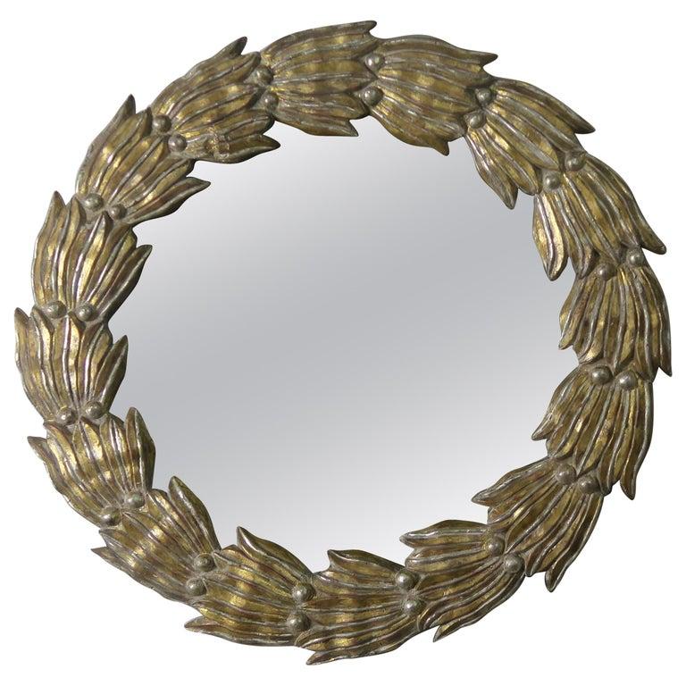Italian Giltwood Wreath Shaped Mirror $2,400